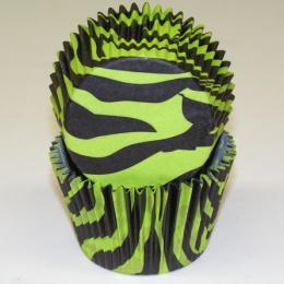 Black/Green Zebra Large (Jumbo) Baking Cups - 50pack
